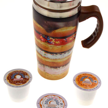 Coffee Travel Mug 16oz Stainless Donut Shop Kcups Insulated Set 4 Easter Gift