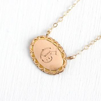 Antique G Necklace - 14k Yellow Gold Filled Initial Pin Conversion Pendant - Vintage Edwardian 1910s Letter Personalized Dainty Jewelry
