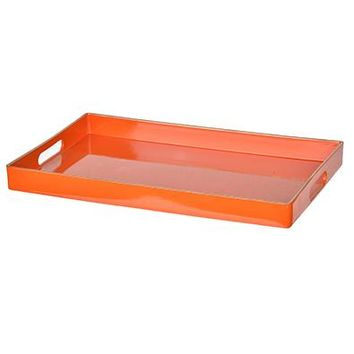 "High Gloss Lacquered Tray in Orange with Gold Trim - 15.75"" L x 10.25"" W x 1.25"" H"
