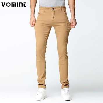 New Arrival Men Casual Pant High Stretch Elastic Fabric Skinny Cutting Pant Black Khaki Blue Men's