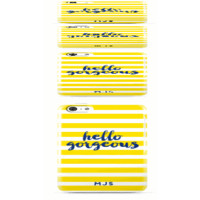 Hello Gorgeous Yellow & White Stripe Phone or iPad Case