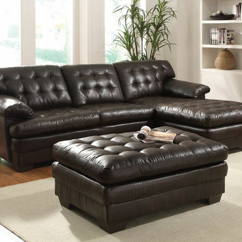 Acme 50770 2 pc nigel collection dark brown bonded leather match upholstered tufted seat and back sectional sofa set