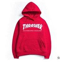 Thrasher Winter Sweater Hoodie sweater set men flame head movement  Red+white letters