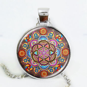 Colorful Psychedelic Mandala Necklace