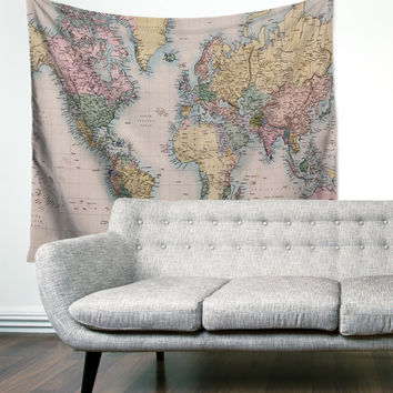 Vintage Boho Travel Wanderlust Map Unique Dorm Home Decor Wall Art Tapestry