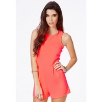 Missguided - Dishita Neon Coral Sleeveless Ribbed Romper