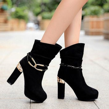 PU Round Toe Metal Buckle High Block Heel Short Boots