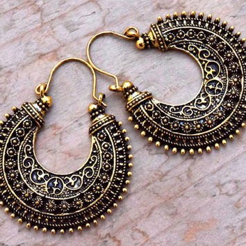 FREE SHIPPING Indian Design Ethnic Earring,Crescent Earring,Golden Hoop ornate Earring,Boho Hippie Earring,Filigree Earring,Gypsy Jewelry