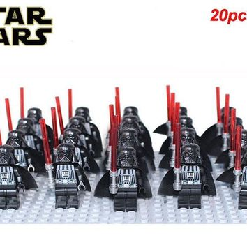 Star Wars Force Episode 1 2 3 4 5 20pcs/lot  DARTH VADER MINI DOLL WITH PLAIN GREY HEAD LIGHTSABER BUILDING BLOCK SETS Compatible LEGOE SW277 kid gifts AT_72_6