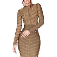 Hermes Studded Bandage Dress Green