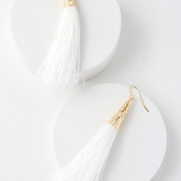 Bellamy White Tassel Earrings