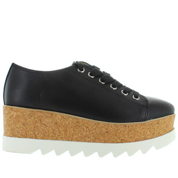 Steve Madden Korrie - Black Leather High Platform Sneaker