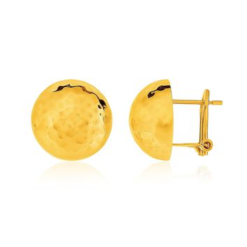 14K Yellow Gold Hammered Half Ball Post Earrings
