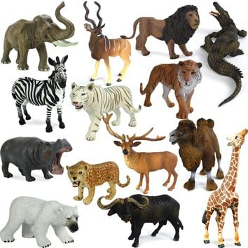 Wild animal toy Original Genuine Wild Jungle Zoo Farm Plastic Animals Elephant Tiger Polar Bear Cheetah children's gift