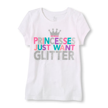 Short Sleeve 'Princesses Just Want To Glitter' Graphic Tee | US Store