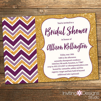 Purple and Gold BRIDAL Shower Invitation, Chevron, Purple, Gold Glitter, Wedding Shower, Glitz, Elegant (PRINTABLE FILE)