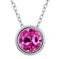 1.00 Ct Round Pink Created Sapphire 925 Sterling Silver Pendant With Chain