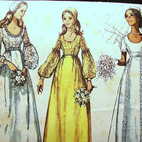 1970s Vintage Empire Waist Wedding Dress Pattern Misses size 16 with Juliet Cap Pattern Bridesmaids Dress