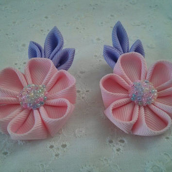 Handmade Kanzashi Flower Hair Clips Bows- Pink & Lavender Kanzashi Pigtails Clips for Girls Toddler Baby~ Photo Prop~ Unique Gift