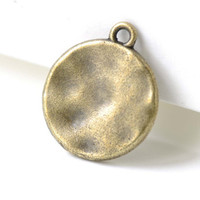 Antique Bronze Hammered Charms Round Textured Pendants  15mm Set of 20 A8136