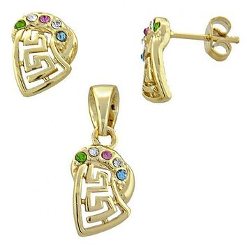 Gold Layered 10.91.0036 Earring and Pendant Adult Set, Greek Key Design, with  Crystal, Gold Tone