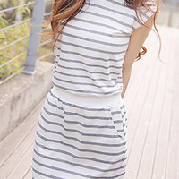 Striped Round Neck Sleeveless Mini Dress