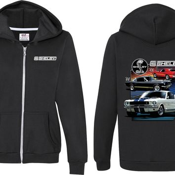 Ladies Ford Mustang Full Zip Hoodie Various Shelby Front and Back