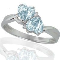 10k White Gold Aquamarine and Diamond Heart Ring (0.02 cttw, I-J Color, I1 Clarity): Jewelry