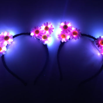 LED Cat Ears LED Kitten Ears Kitten headband Flower crown LED Headband for rave Music Festival disney rave outfit