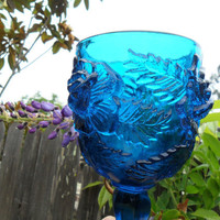Vintage Blue Rose Glass Goblet-Stunning Vivid Blue Wine Glass