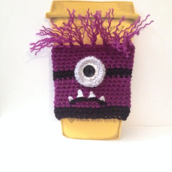 Cute Evil Minion Coffee/ Sippy Cup Cozy - One or two eyes available