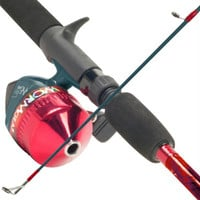 South Bend Worm Gear Fishing Rod & Spincast Reel Combo-Red