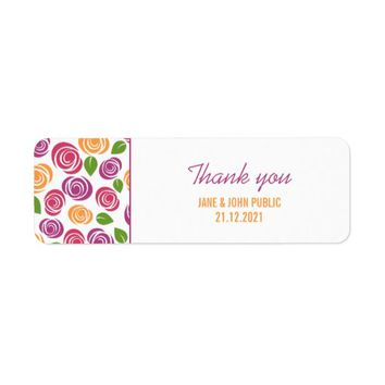 Colorful Floral Pattern Thank You Labels