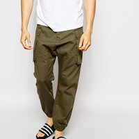 ASOS Drop Crotch Trousers In Cargo With Cuffed Hem at asos.com