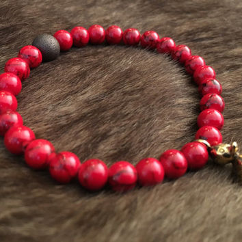 Men's Bead Bracelet with Red Dyed Jade and Golden Rubber Duck