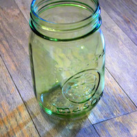 Hand Tinted Green Mason Jar