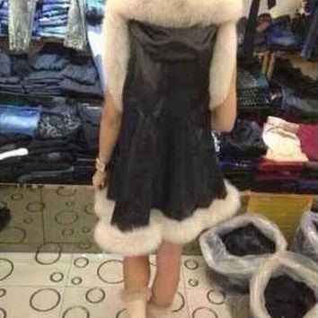 Pu Leather Jacket Coat Winter Warm Fur Coat = 1931748292