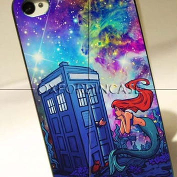 Tardis Doctor Who Ariel Mermaid Galaxy - for iPhone 4/4S case iPhone 5 case Samsung Galaxy S2/S3/S4 case hard case