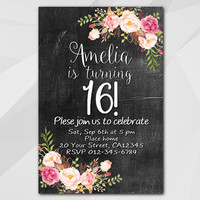 16th Birthday invitation, Watercolor Chalkboard, 13th 18th 21st 30th 40th 50th, Custom Birthday Party invitation XA020c