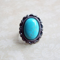 Antique Turquoise Cabochon Adjustable Statement Ring