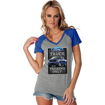 Ladies Ford Truck T-shirt Parking Sign Contrast V-Neck