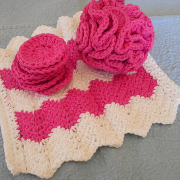 Pink and White Chevron Spa Bath Set - Bath Puff, Chevron Washcloth, Facial Rounds - Spa Gift Set - Ready  to  Ship