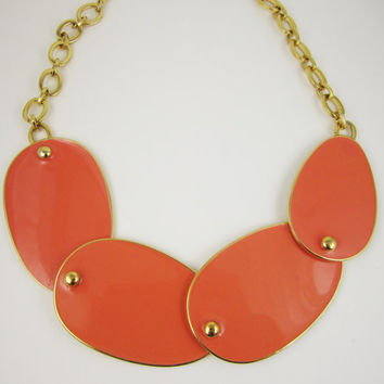 Vintage Necklace Signed KJL Kenneth Lane Coral Discs Bold Spring Jewelry