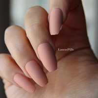 Nude pink coffin shaped false nails ! Ballerina nails, matte finish. Press on nails, stick on nails, edgy shape.