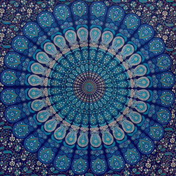 Blue Hippie Hippy Wall Hanging Indian Mandala Tapestry Living Room Tapestry Bedspread Decorative Wall Hanging Picnic Beach Sheet Wall Art