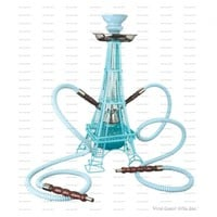 "18"" Tall 2 Hose Eiffel Tower Hookah"