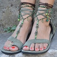 Bohemian Tassels Thong Pure Color Ankle Straps Lace Up Women Flat Beach Sandals