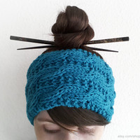 Petrol blue extra wide cable headband, dark teal blue knit wool head wrap, wool ear warmer, handknit winter musthave, cold weather, gift
