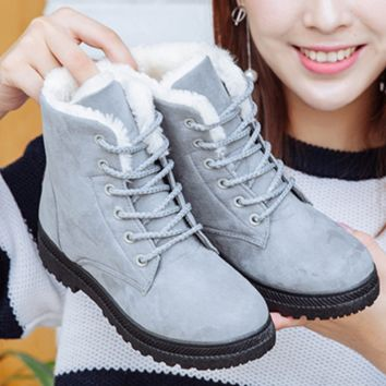 Winter snow boots thicker Martin boots warm boots with flat boots Dark blue