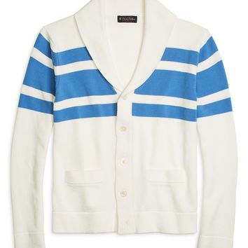 Men's White and Blue Chest Stripe Shawl Collar Cardigan | Brooks Brothers